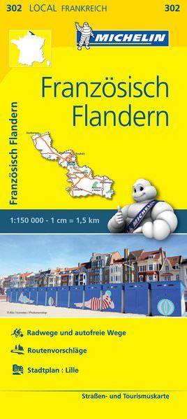 Michelin local 302 Französisch Flandern Straßenkarte 1:150.000