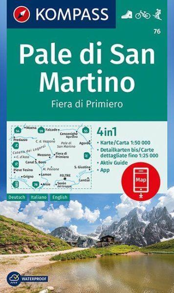 Kompass Karte 76, Pale di San Martino 1:50.000, Wandern, Rad fahren