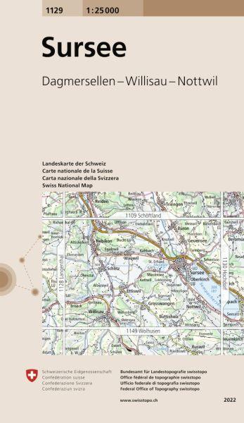 1129 Sursee topographische Wanderkarte Schweiz 1:25.000