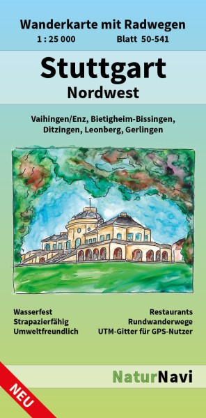 Stuttgart Nordwest 1:25.000 Wanderkarte mit Radwegen – NaturNavi Bl. 50-541