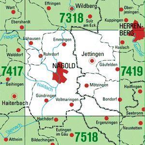 7418 NAGOLD topographische Karte 1:25.000 Baden-Württemberg, TK25