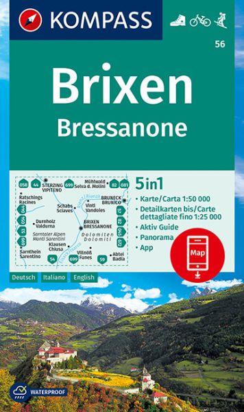 Kompass Karte 56, Brixen / Bressanone 1:50.000, Wandern, Rad fahren