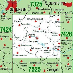 7425 LONSEE topographische Karte 1:25.000 Baden-Württemberg, TK25