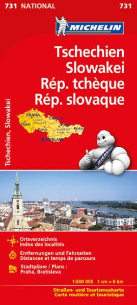 Michelin 731 Tschechien, Slowakei Straßenkarte, Stadtpläne: Praha, Bratislava, 1:600.000