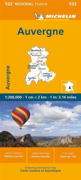 Michelin regional 522 Auvergne - Limousin Straßenkarte 1:200.000