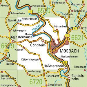 6620 MOSBACH topographische Karte 1:25.000 Baden-Württemberg, TK25