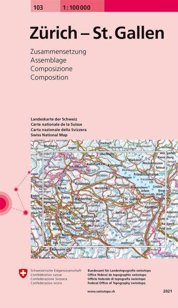 103 Zürich - St. Gallen topographische Karte Schweiz 1:100.000