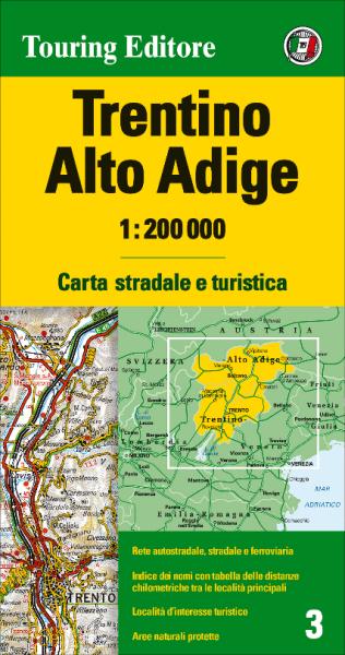 Trentino und Südtirol Straßenkarte, TCI 3, 1:200.000