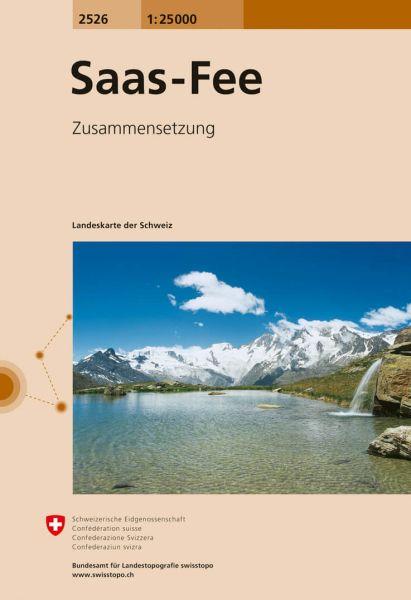2526 Saas-Fee topographische Wanderkarte Schweiz 1:25.000
