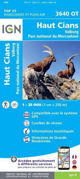 IGN 3640 OT Haut Cians, Valberg, Frankreich Wanderkarte 1:25.000