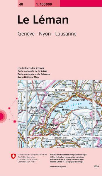 40 Le Leman topographische Karte Schweiz 1:100.000