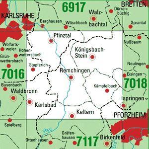 7017 PFINZTAL topographische Karte 1:25.000 Baden-Württemberg, TK25