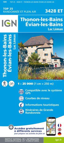 IGN 3428 ET Thonon, Évian, Lac Leman, Frankreich Wanderkarte 1:25.000