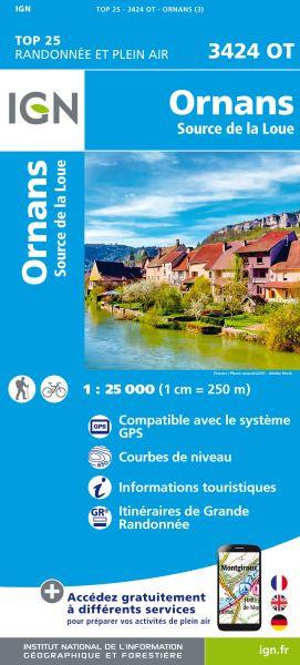 IGN 3424 OT Ornans, Source de la Loue, Frankreich Wanderkarte 1:25.000
