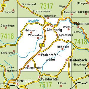 7417 ALTENSTEIG topographische Karte 1:25.000 Baden-Württemberg, TK25