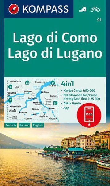 Kompass Karte 91, Lago di Como, Lago di Lugano 1:50.000, Wandern