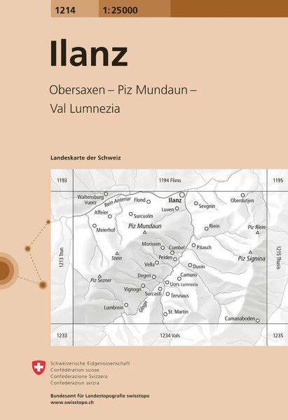 1214 Ilanz topographische Wanderkarte Schweiz 1:25.000