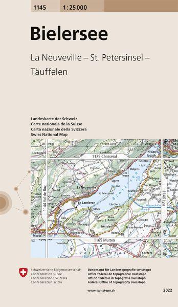 1145 Bielersee topographische Wanderkarte Schweiz 1:25.000
