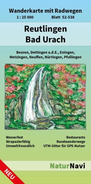 Reutlingen & Bad Urach 1:25.000 Wanderkarte mit Radwegen – NaturNavi Bl. 52-538