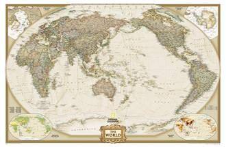 NGS Poster Weltkarte Antik Executive Pazifik Ansicht 117 cm x 76 cm