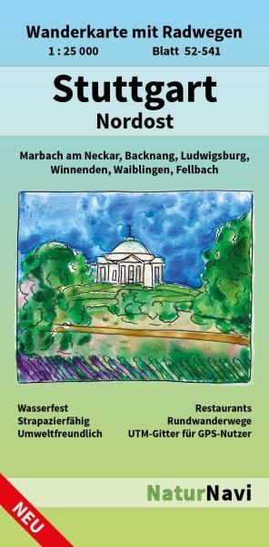 Stuttgart Nordost 1:25.000 Wanderkarte mit Radwegen – NaturNavi Bl. 52-541