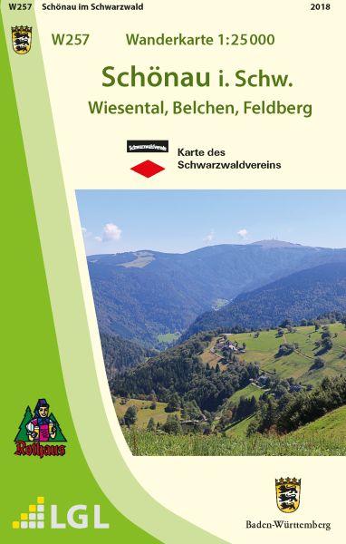 Schönau im Schwarzwald W257, Wanderkarte 1:25.000, Schwarzwaldverein