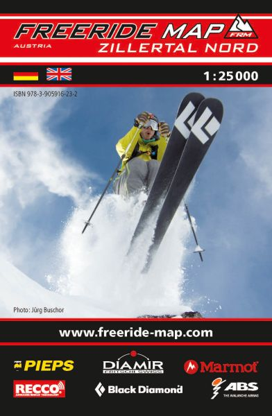 Freeride Map Zillertal Nord, Skitourenkarte 1:25.000