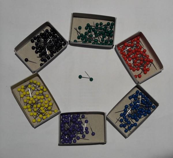 50 Markierungsnadeln / Landkartenpins mit rundem Kopf in verschiedenen Farben (Auswahl)
