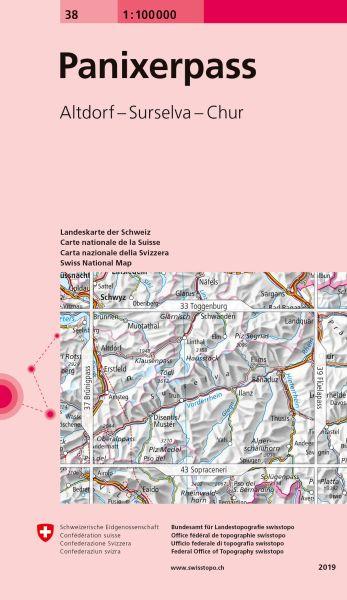 38 Panixerpass topographische Karte Schweiz 1:100.000
