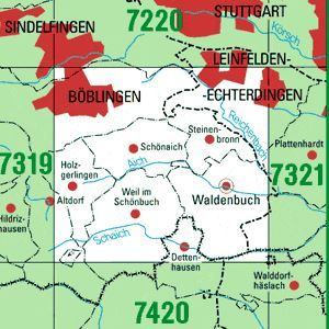 7320 BÖBLINGEN topographische Karte 1:25.000 Baden-Württemberg, TK25
