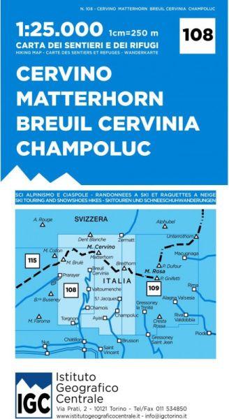 IGC 108 – Wanderkarte für Cervino Matterhorn - Breuil Cervina - Champoluc 1:25.000