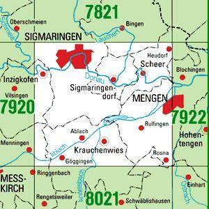 7921 SIGMARINGEN topographische Karte 1:25.000 Baden-Württemberg, TK25