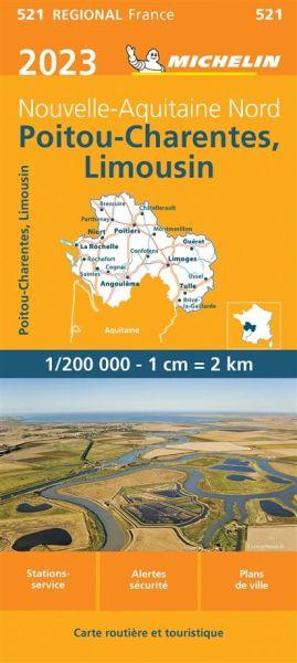 Michelin regional 521 Poitou-Charentes Straßenkarte 2020 1:200.000