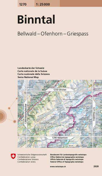 1270 Binntal topographische Wanderkarte Schweiz 1:25.000