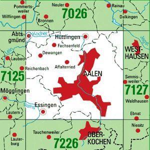 7126 AALEN topographische Karte 1:25.000 Baden-Württemberg, TK25