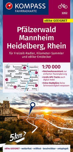 Kompass Radkarte 3352 Pfälzerwald, Mannheim, Heidelberg, Rhein 1:70.000