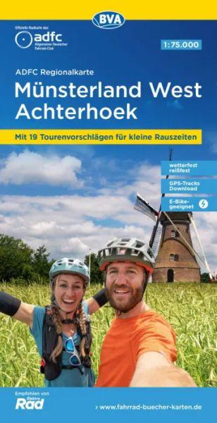 ADFC Regionalkarte Münsterland West, Achterhoeck Radwanderkarte 1:75.000