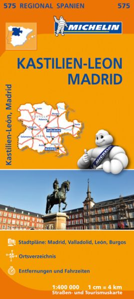 Michelin regional 575 Kastilien-Leon, Madrid; Straßenkarte