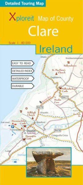 Map of County: Clare, Irland topographische Karte 1:80.000, Xploreit Maps