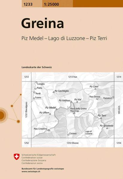 1233 Greina topographische Karte Schweiz 1:25.000