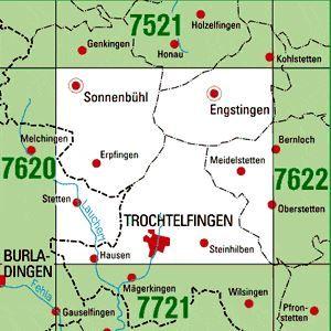 7621 TROCHTELFINGEN topographische Karte 1:25.000 Baden-Württemberg, TK25