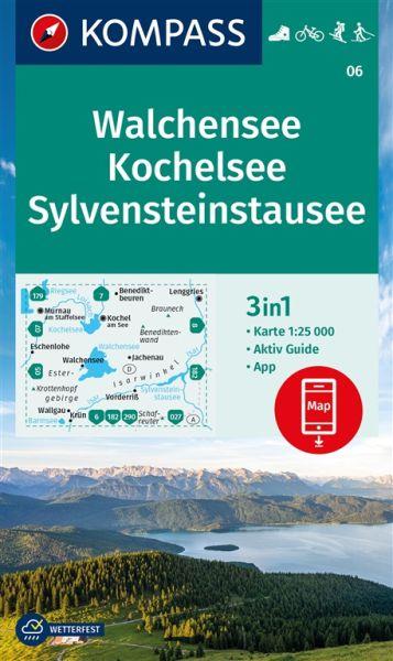 Kompass Karte 06, Walchensee, Kochelsee 1:25.000, Wandern, Rad fahren