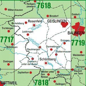 7718 GEISLINGEN topographische Karte 1:25.000 Baden-Württemberg, TK25