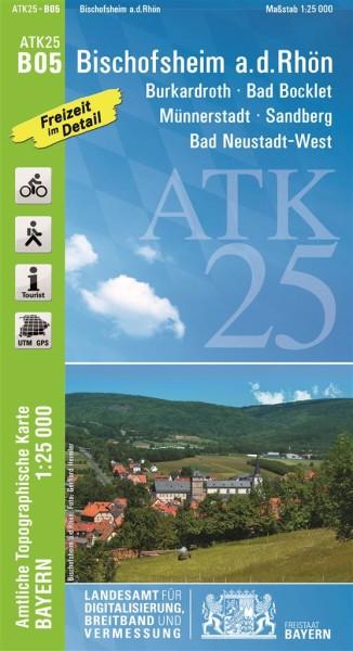 ATK25 B05 Bischofsheim a.d.Rhön, 1:25.000 amtliche topographische Karte mit Wander- und Radwegen