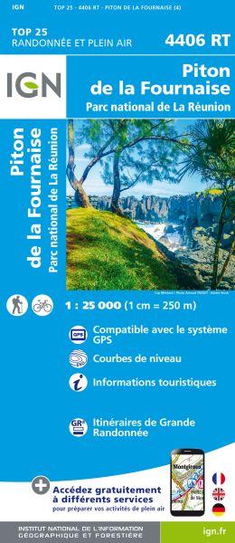 IGN 4406 RT Piton de la Fournaise, La Reunion topographische Wanderkarte 1:25.000, IGN