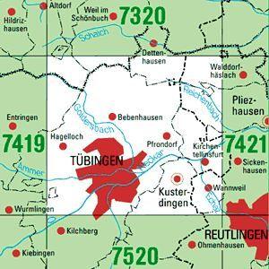 7420 TÜBINGEN topographische Karte 1:25.000 Baden-Württemberg, TK25