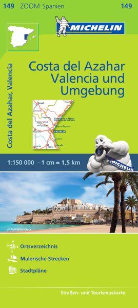 Michelin zoom 149 Costa del Azahar, Valencia und Umgebung Straßenkarte 1:150.000