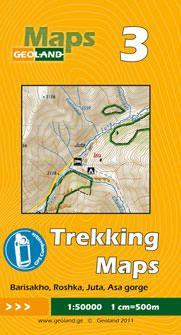Barisakho, Roshka, Juta, Asa-Schlucht - Georgien Trekkingkarte 1:50.000 – Geoland 3