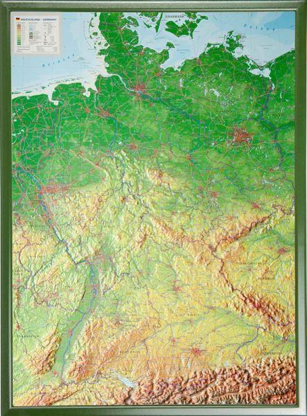 Deutschland Relief groß mit Holzrahmen – 77 cm x 57 cm