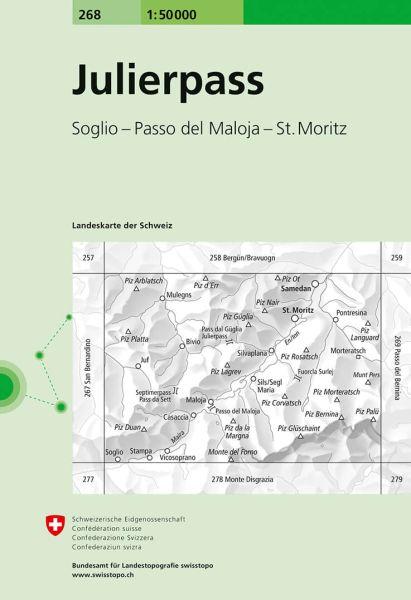 268 Julierpass topographische Wanderkarte Schweiz 1:50.000